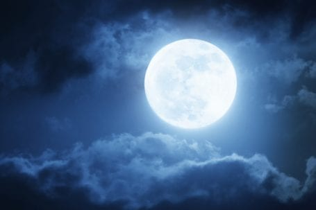 Full moon surrounded by clouds